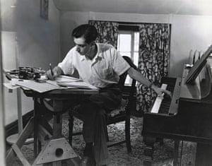 On Reading: Norman Dello Joio composing music at a piano
