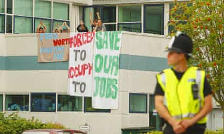 Wind turbine workers stage jobs fight sit-in at the Vestas factory on the Isle of Wight