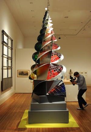 Bauhaus exhibition: Tower of Fire sculpture by Johannes Itten in the Martin-Gropius-Bau