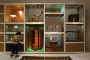 Bauhaus exhibition: A visitor looks at furniture in the exhibition in the Martin-Gropius-Bau