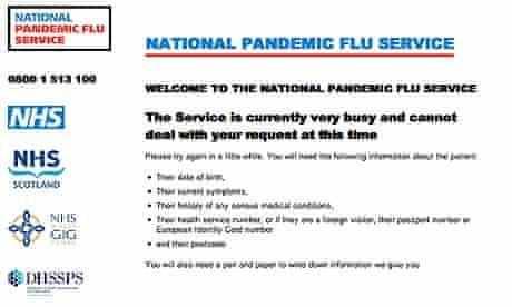 Crashed National Pandemic Flu Service website