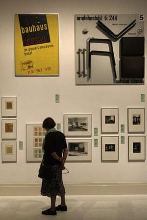 Bauhaus exhibition: A woman looks at the exhibition Bauhaus. A Conceptual Model