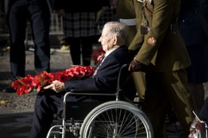 Harry Patch: Harry Patch leads the wreath laying service