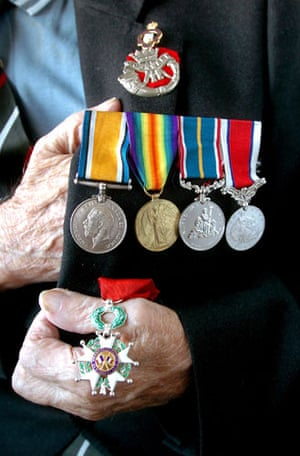Harry Patch: Harry Patch displays his medals in 2004