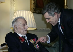 Harry Patch: Gordon Brown points at the medals of Harry Patch