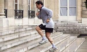 Nicolas Sarkozy returns from a jog in 2007.