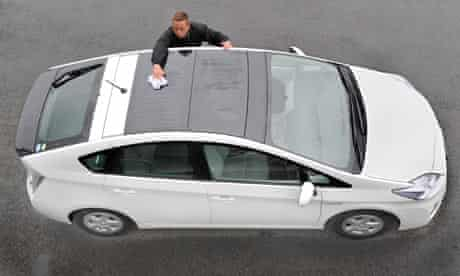 solar battery panels on a roof of Toyota's new hybrid vehicle Prius
