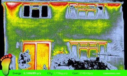 A thermal image showing heat loss from blogger Rob Veck's home