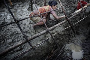 Bangladesh flood defences: Sale Ha Begum builds a tent for herself and her son