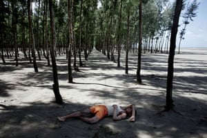 Bangladesh flood defences: Between the beach and the town, huge areas are planted with trees
