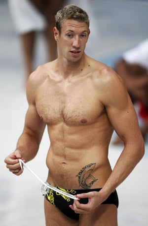 Men in swimsuits: 2008: Alain Bernard of France attends swimming practice