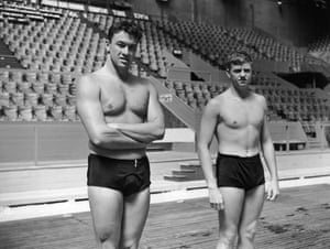 Men in swimsuits: 1948:  American swimmers Eugene Rogers and Bill Dudley at the Empire Pool