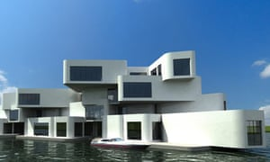 the world's first floating apartment complex, The Citadel, designed by Waterstudio, Netherlands