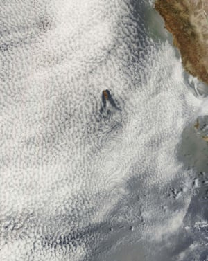 Satellite eye on Earth: Clouds shaped like vortices, Guadalupe Island, Mexico