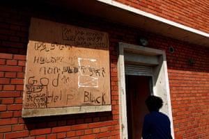 Eritrean refugees Calais: Graffiti in a mixture of tigriny and English