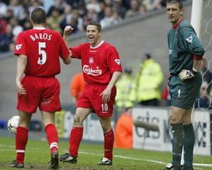 Michael Owen : Michael Owen of Liverpool celebrates scoring
