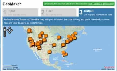 Map of American beauty spots