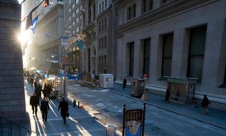 Wall Street, New York in December 2008