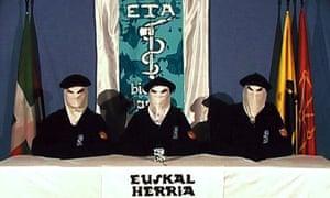 Basque separatist group ETA members declare a ceasefire in a video in 2006