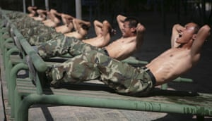 24 hours: Paramilitary policemen attend a training session in China