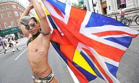 A participant in the Pride London march
