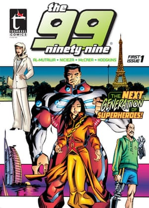 The 99 comic: Cover of the first issue of The 99, an Islamic Superhero comic