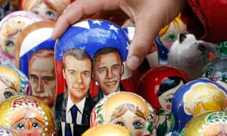 Dolls of Barack Obama and Dmitry Medvedev