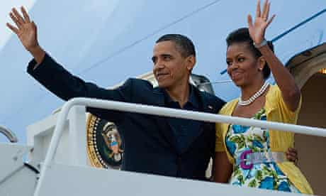 Barack Obama and his wife, Michelle, setting off from Andrews air force base for Moscow.