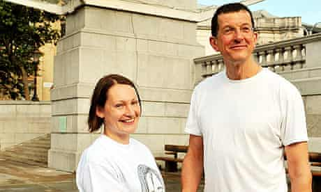 Rachel Wardell with Antony Gormley in front of the fourth plinth in Trafalgar Square