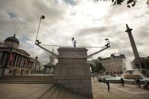 Trafalgar Square plinth: Rachel Wardell stands on the empty fourth plinth in Trafalgar Square