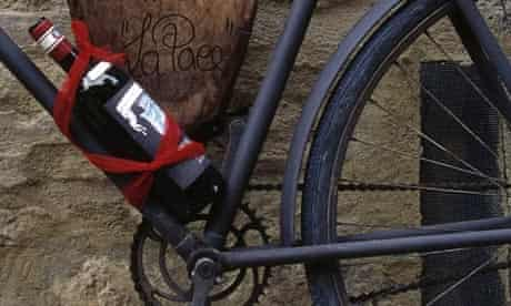 Bike blog: Wine Bottle Attached to Bicycle