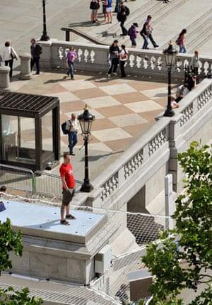 Trafalgar Square plinth: Jason Clark, second person, stands on the Fourth Plinth