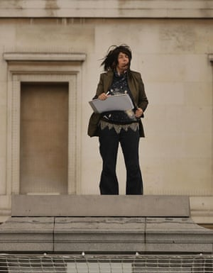 Trafalgar plinth: Artist Christine Sharman sketches as she stands on the empty fourth plinth