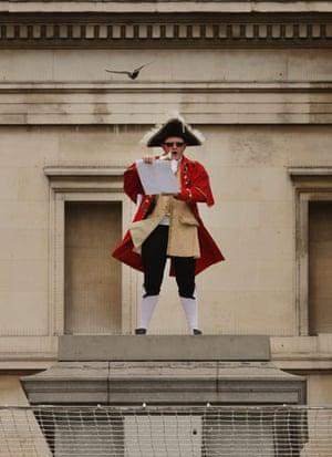 Trafalgar plinth: Bar owner Scott Illman stands on the empty fourth plinth