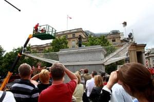 Trafalgar plinth: Scott Illman replaces Christine Sharman on the empty fourth plinth
