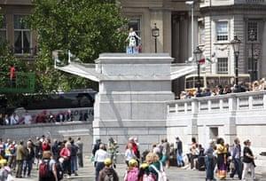 Trafalgar plinth: Jill Gatcum stands on the fourth plinth in London's Trafalgar Square