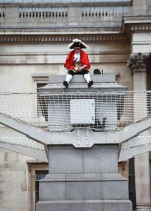 Trafalgar plinth: Scott Illman sits on the empty fourth plinth in Trafalgar Square
