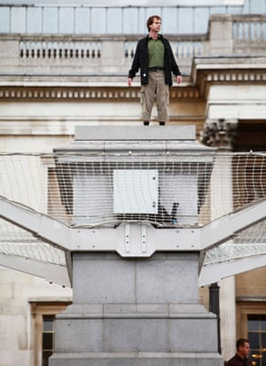 Plinth Trafalgar Square: Rupert Meese, 42, a symbolic modeller from Derby, on the plinth at 4pm