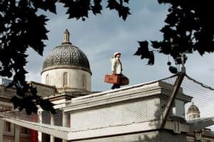Trafalgar Square plinth: Victor Martinez stands on the empty fourth plinth in Trafalgar Square