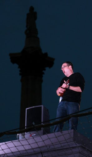 Plinth occupants: Stephen Roser, 52, from Bristol, performing on the fourth plinth