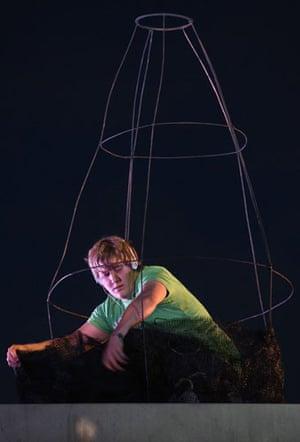 Plinth occupants: Mike Longman, 20, makes a sculpture on the fourth plinth