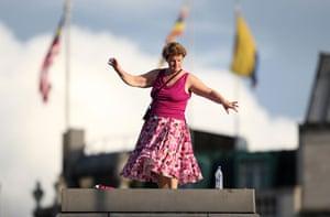 Plinth occupants: Monique Speksnyder, 45, from Corbridge, dances on the fourth plinth