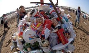 Green Festivals : A litter bin at Glastonbury festival