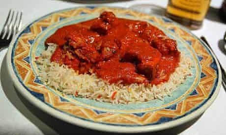 A plate of chicken tikka masala in Brick Lane, London.