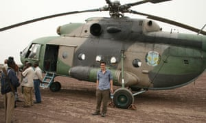 Geologist David Ferguson and Ethiopian military helicopter