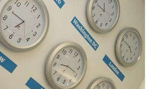 Clocks set to international times - in Kings Place office