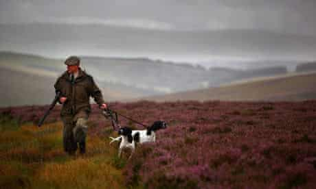 A grouse keeper at Horseupcleugh estate in the Lammermuir Hills in the Borders
