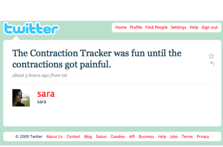Sara on Twitter having contractions
