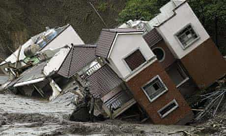 Damaged buildings in Kaohsiung county, Taiwan