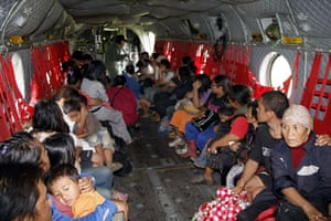 Typhoon Morakot aftermath: Namaxia, Taiwan: Survivors in a military helicopter as they are evacuated